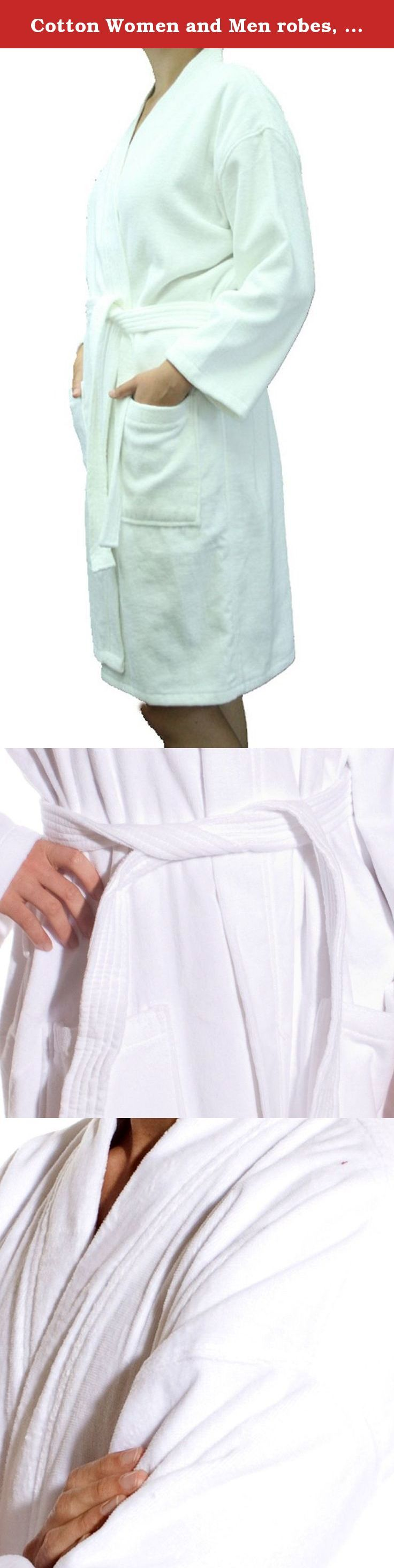 Cotton Women and Men robes, Velour Terry Kimono Adult Bathrobes, White Adult robes, Size S/M. Terry Kimono Robes have been woven using 100% Top Quality natural Cottons. The World's softest and the most absorbent cottons ever. Robe made of terrycloth inside and velour cut terry cotton on the outside. These top quality bath robes are used by most of the first class hotels and spas for their valued customers. Kimono Style Spa Robes, Hotel Robes and bathrobes are designed for maximum comfort…