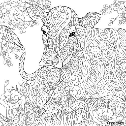 zentangle cow flower blossom grass field adult coloring page