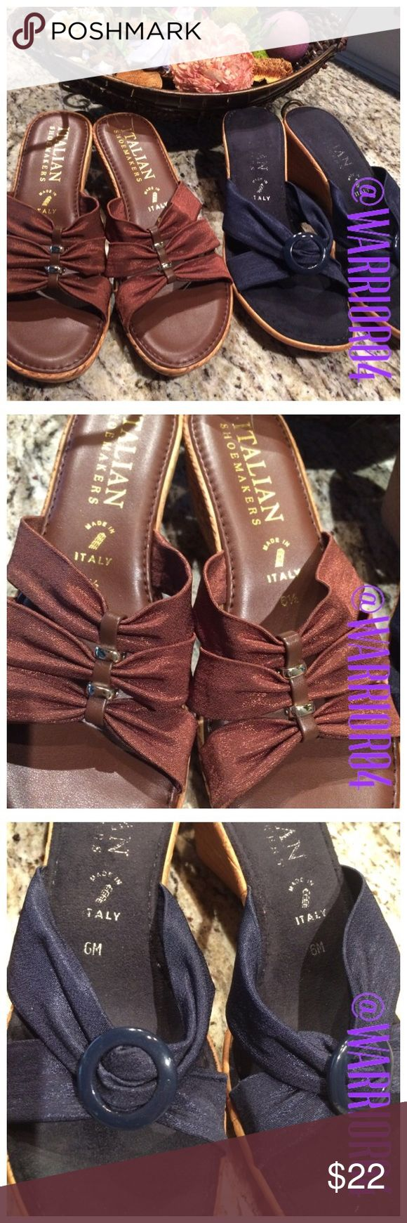 Bundle of 2 pairs of Italian Shoes Size 6 & 6.5 Bundle of 2 pairs of Italian Shoemakers Shoes Size 6 & 6.5 the brown pair is size 6.5 and the blue pair is a size 6 excellent shape look at the soles of the shoes! Italian Shoemakers Shoes
