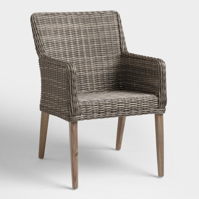 Gray All Weather Wicker Borgia Outdoor Dining Chair V1 Outdoor Dining Chairs Patio Dining Chairs Wicker Dining Chairs