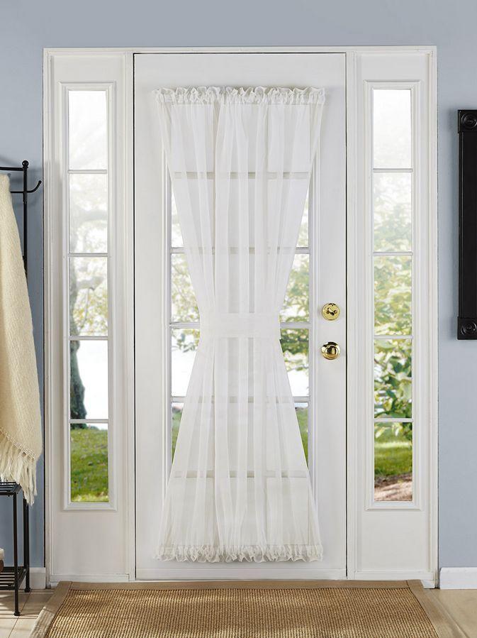 Batiste Sheer French Door Curtain Panel W Tieback Assorted Colors Sizes Ebay French Door Curtains Door Curtains Door Panel Curtains