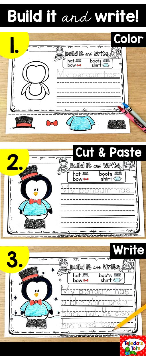 Students love to build! In this center or writing activity, students cut and paste the pieces they want to build their pictures, then write about them! Differentiated with a picture word bank and sentence prompt to trace. 2-sided for more advanced writers. This winter pack includes 10 themes: penguins, Christmas, snow, Christmas tree, hot cocoa & more! #christmasactivities #christmascenters #christmaswriting #wintercenters #firstgrade