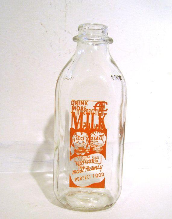 Vintage Anderson Erickson Dairy Co Clear Glass Milk Bottle One Quart Iowa