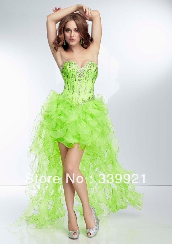 Best Selling 2014 High Low Style Beaded Sweetheart Lime Green Hot Pink  Orange Front Short Long