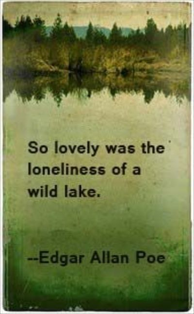 """So lovely was the loneliness of a wild lake."" - Edgar Allan Poe."