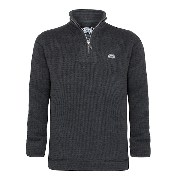 A distinctive 1/4 zip sweat in a soft brushed cotton mix fabric that features a unique cross hatch design