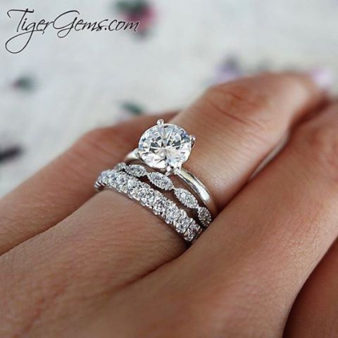 The 1.5 ct 4 prong solitaire ring with the art deco band and 2.7mm 1 ctw eternity band. ━━  Shop Now at TigerGems.com