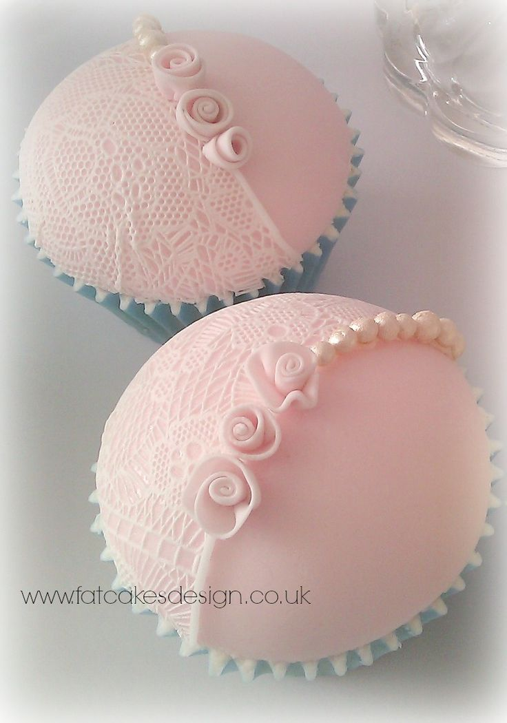 Sugarveil lace cupcake domes. Pale pink with pearls and mini ribbon roses.