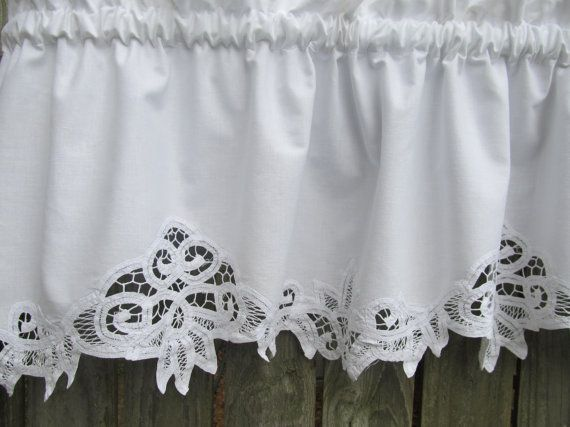 country battenburg lace curtain valance in white cotton curtain