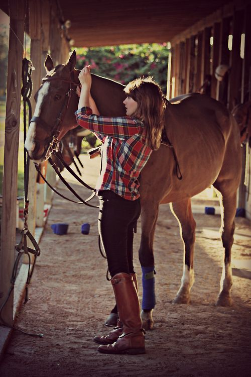 Girls will spend all their time with their horses.......... I love the shirt and the boots - they go well together!