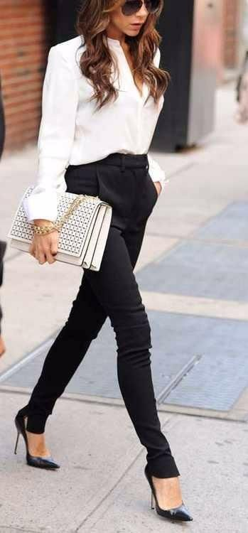 Classic black/white Trendy pant That clutch