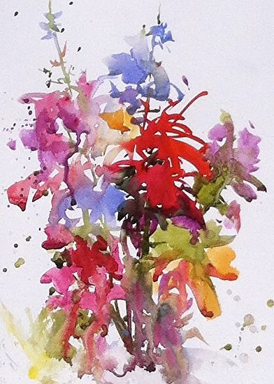 Abanakee Flowers by Sarah Yeoman Watercolor ~  x