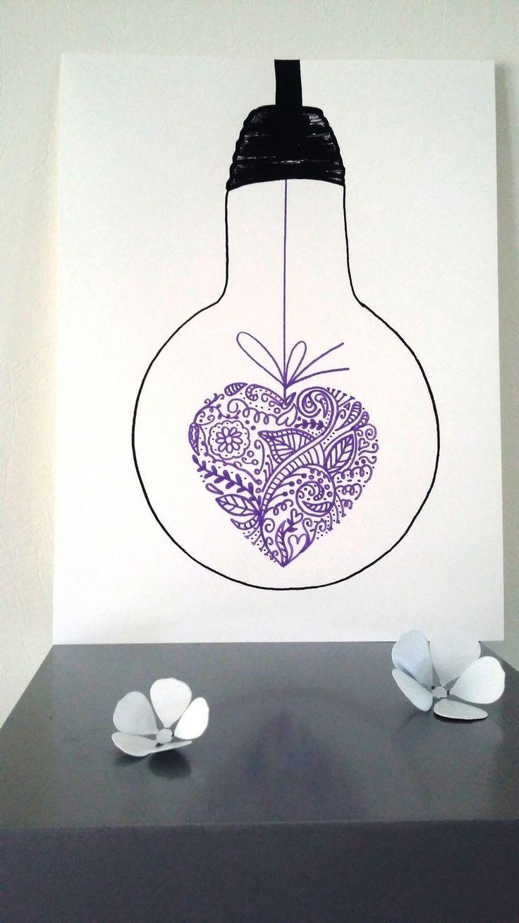 Ampoule laureen luhn design graphique - Affiche Illustration Ampoule Mon Coeur Est Toi