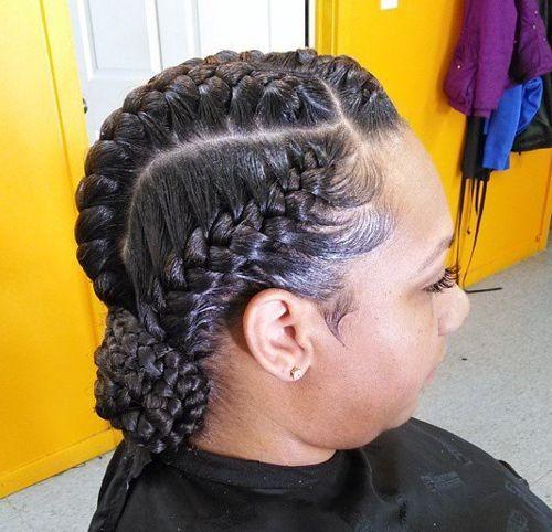 Goddess Braids Updo With A Low Braided Bun Hair