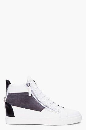Giuseppe Zanotti White Signature Zip Sneakers for Men | SSENSE