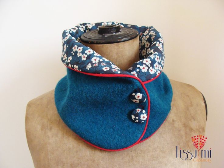 "COL EN LAINE BOUILLIE BLEU CANARD ""LIBERTY MITSI"" : Echarpe, foulard, cravate par tissumi"