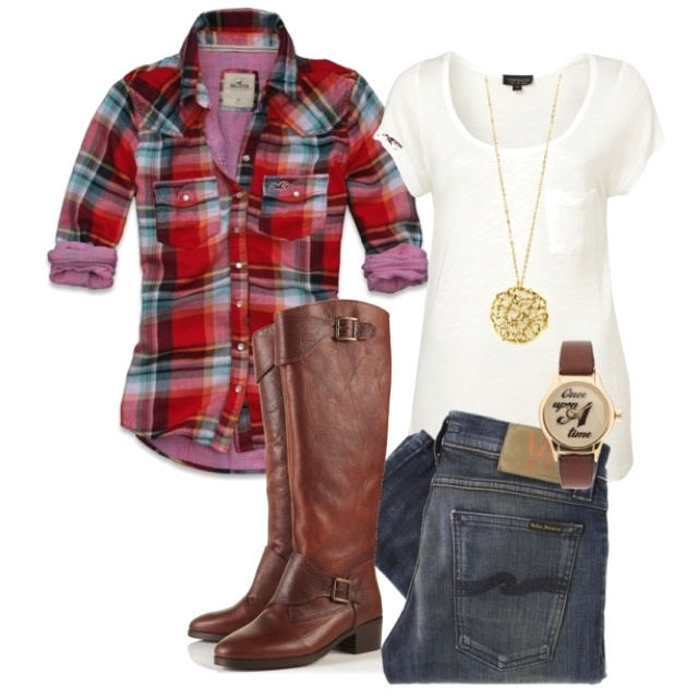 Fall Outfit Flannels Jeans Boots till I die