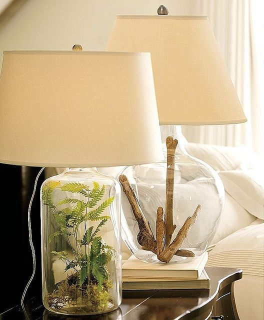 Click on for photo inspiration of Glass Lamp Filler Ideas