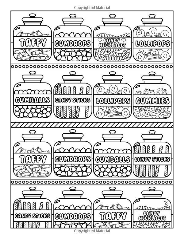 Amazon Candy World Coloring Book 24 Totally Sweet
