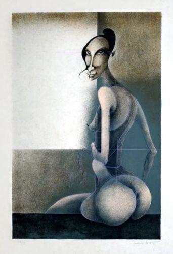 """Künstler: Frédéric Bouche Titel: Nu assis Grafik auf Bütten Größe: 64 x 47 cm Motiv: 58 x 38 cm nummeriert, handsigniert Gesamtauflage: 75  erlebte frühen Ruhm: Mit 27 Jahren nahm er an dem Salon der Metamorphosen des Begehrens in Montbéliard teil. Neben Bellmer, Dali, Delvaux, Fini und Man Ray konnte man dort auch seine Arbeiten bewundern.   """"Ein Visionär"""" der uns zu früh verlassen hat, aber seine wunderbaren Arbeiten bleiben uns erhalten."""