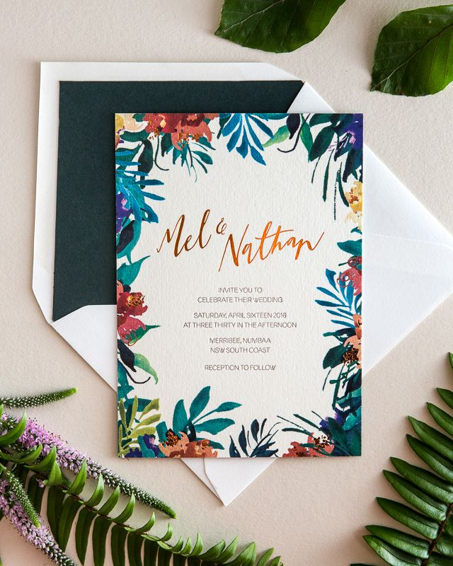 Tropical Garden Party Copper Foil Wedding Invitations for an Alice in Wonderland inspired wedding in Australia by The Distillery