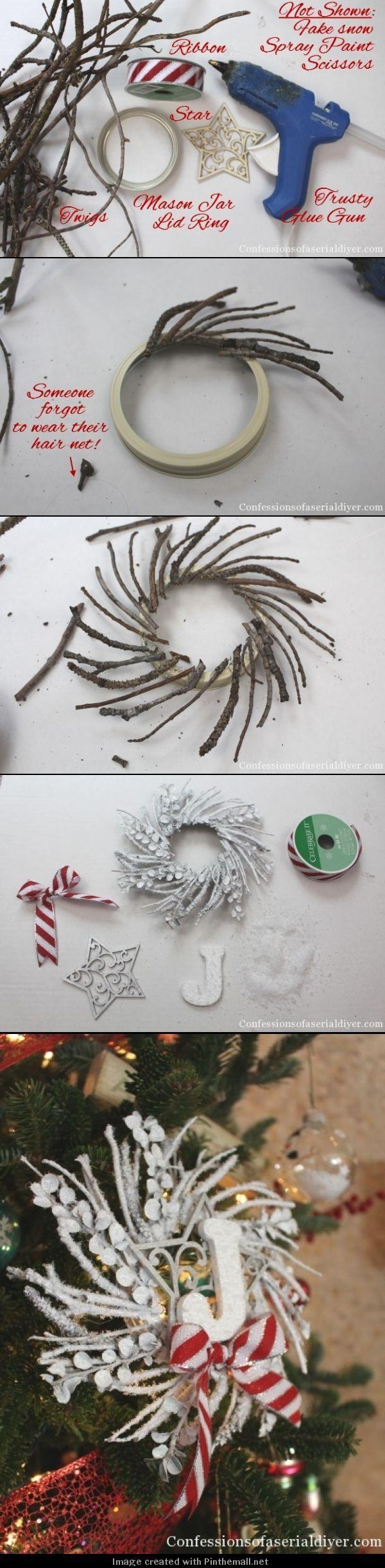 DIY con monograma de la ramita de la guirnalda Ornamento - (Las pequeñas coronas ramita sería lindo para decorar naturales demasiado en vez de aerosol pintarlas ...):