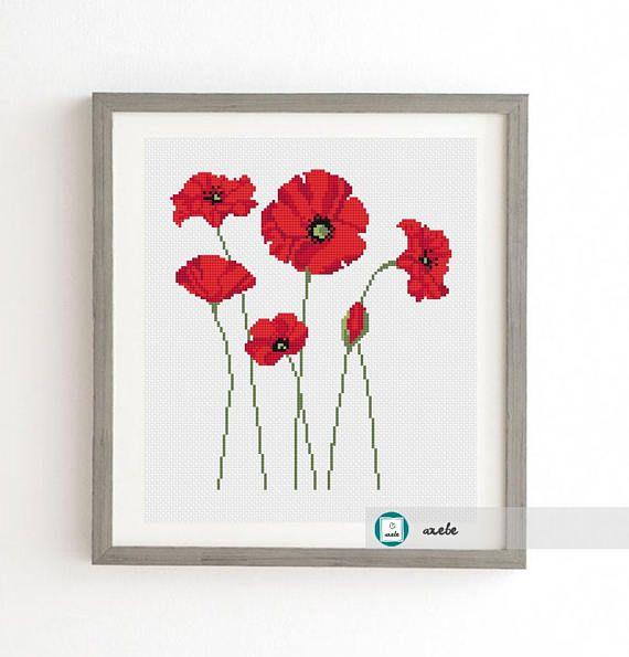 Poppies cross stitch patternmodern pattern PDF DIY
