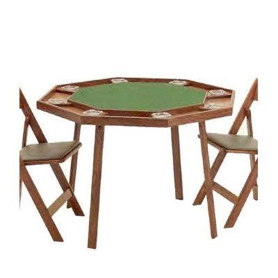Kestell Furniture Compact Folding Poker Table Upholstery: Bottle Green Felt, Finish: Fruitwood/Walnut