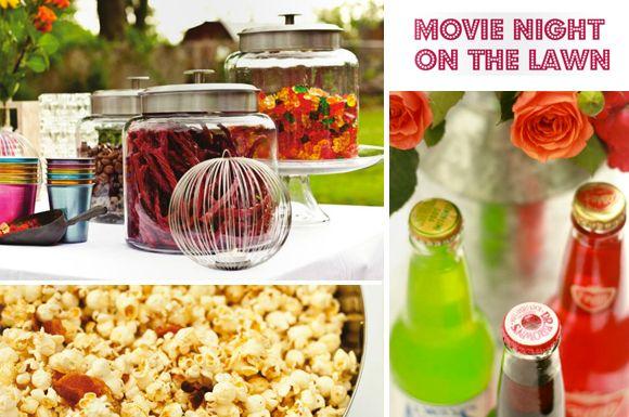 Outdoor movie night!Movie Snacks, Outdoor Movie Parties, Outdoor Movie Party, Parties Ideas, Backyard Movie Nights, Backyards Movie Night Ideas, Snacks Bar, Outdoor Movie Nights, Movie Night Snacks