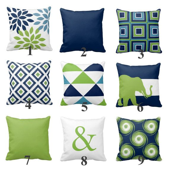Throw Pillow Covers Navy Blue Green White Light by HLBhomedesigns