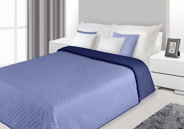 Dwustronne modne narzuty na łóżko do sypialni w kolorze niebieskim