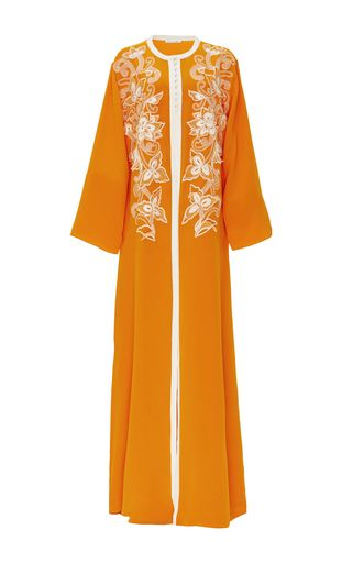 Silk Embroidered Long Sleeved Caftan by OSCAR DE LA RENTA Now Available on Moda Operandi
