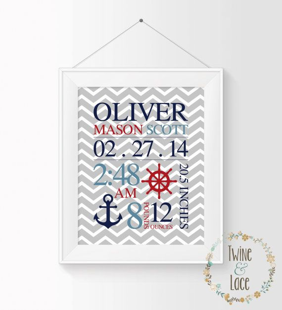 Nautical Nursery Art Baby Birth Stats by TwineAndLaceByLauren