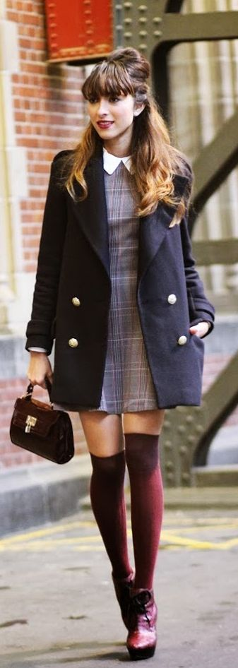 Virgit Canaz is wearing a tartan dress from InLoveWithFashion, sweater from Choies, coat from Zara, over the knee socks and bag from New Look and the boots are from Burberry prorsum Mod Fashion Trend.