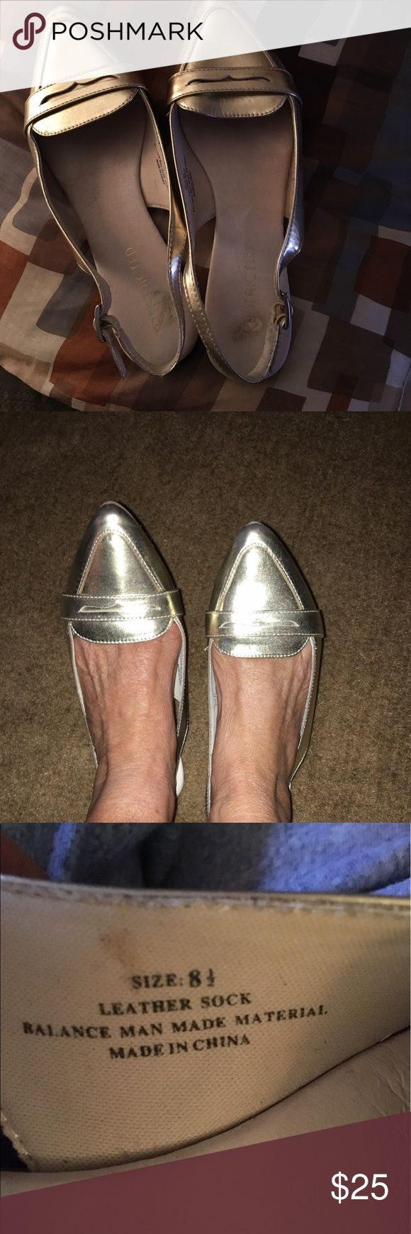 """RESTRICTED GOLD SLINGS 💋1HR💋DRESS EM UP OR WEAR WITH SHORTS PERFECT SUMMER MUST HAVE 10,5 L 3.2"""" W Restricted Shoes Flats & Loafers"""