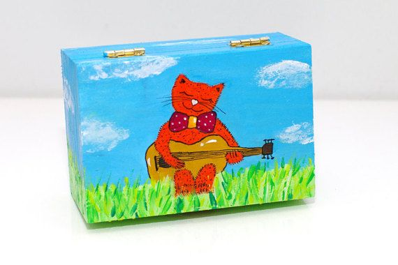 Wooden box painted - Child jewelry box - Small box - Unique christening gifts for boys - Keepsake box - Appropriate Christening gift - Baptism gift boy