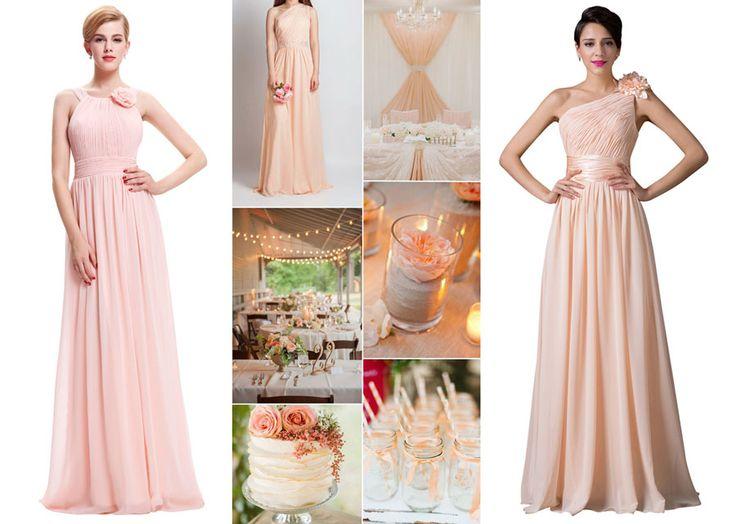 Oranžovo - ružová svadobná výzdoba - ružové družičkovské šaty, oranžové šaty pre družičky