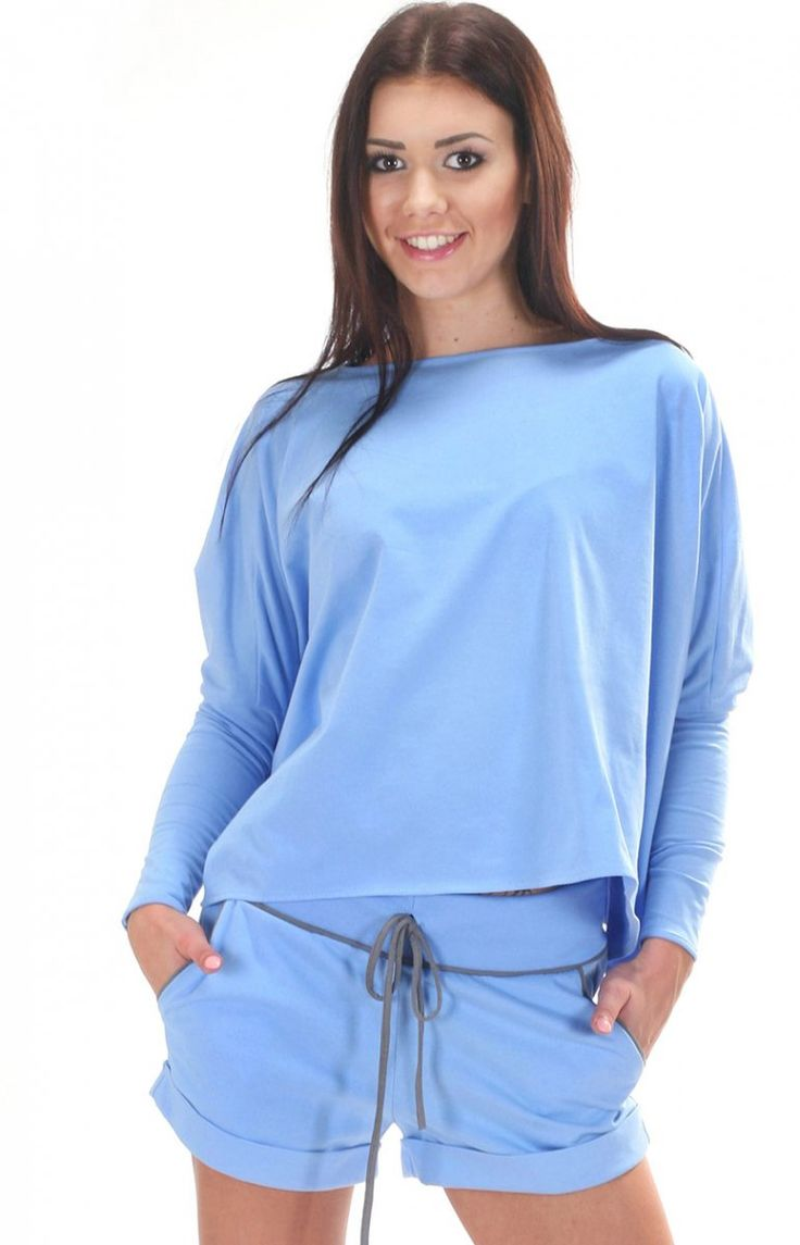 SIMMI S053 bluzka błękitna Świetna dzianinowa bluza
