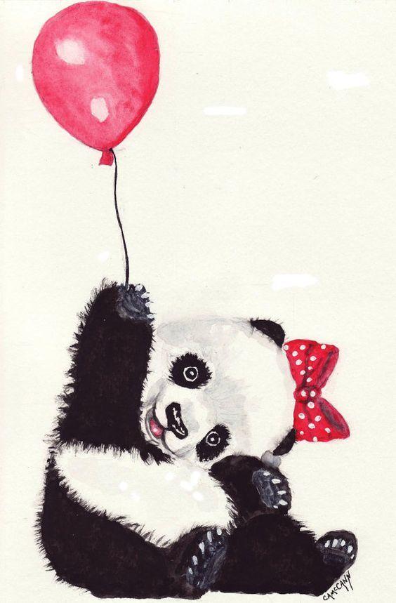 Dibujo de Osita Panda Feliz con su Globo