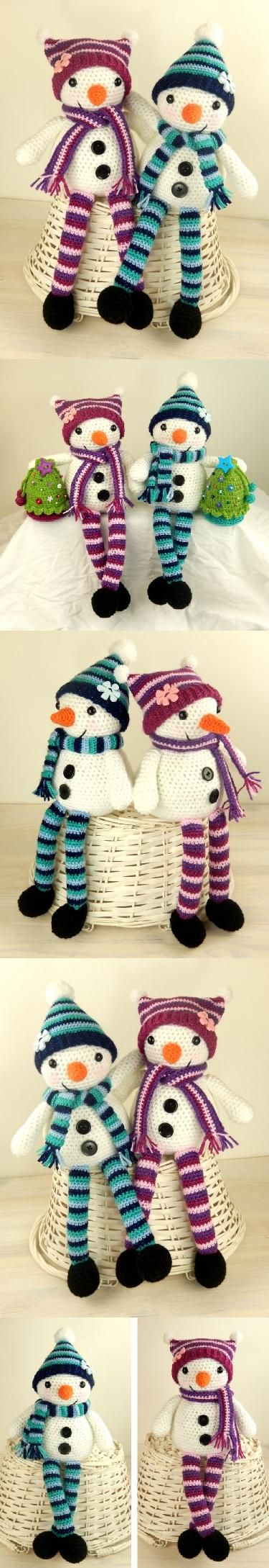 Mr and Mrs Snow amigurumi pattern by Janine Holmes at Moji-Moji Design