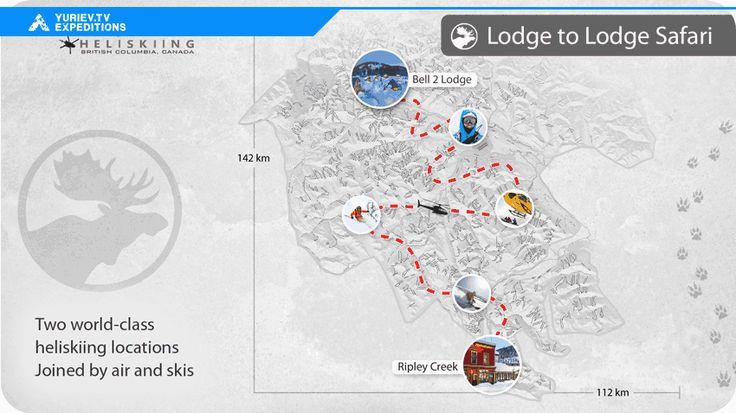 Карта нашего хеликсиинг тура. Канадские скалистые горы. Британскя Колумбия, Канада