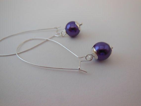 purple glass pearl earrings with long kidney wires. by LeelysBeads, €12.00
