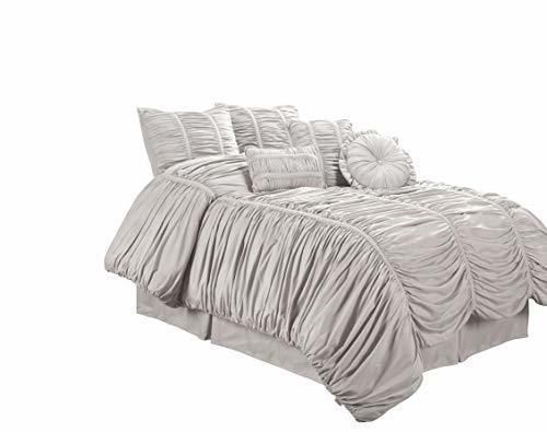 Chezmoi Collection 7 Piece Chic Ruched Duvet Cover Set Silver