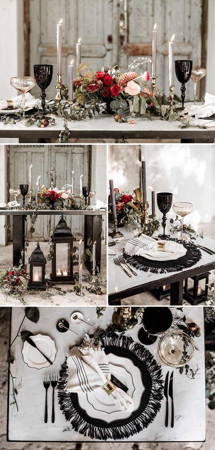 Black table decor and setting   Image by Lilly Red Creative