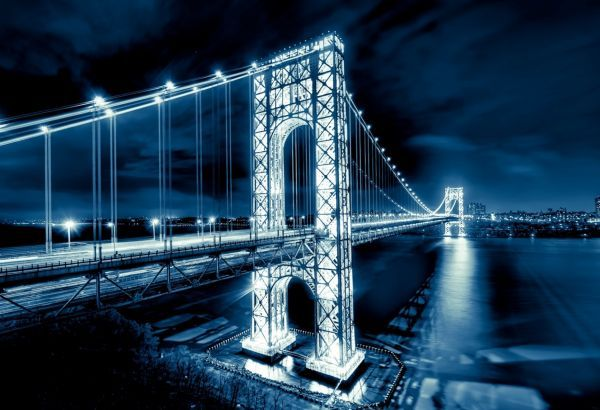 Обои картинки фото George Washington Bridge, мост Джорджа Вашингтона, New Jersey, Manhattan, Hudson River, река, Гудзон, New York City, NYC, USA, Нью-Йорк, США