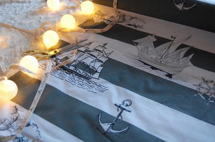Tkanina wzór marynistyczny statki morze Fabric seaside ships marine