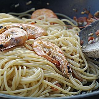Aglio e oglio 🍝 #PodNiebienie #aglioeolio #krewetki #schrimps #spaghetti