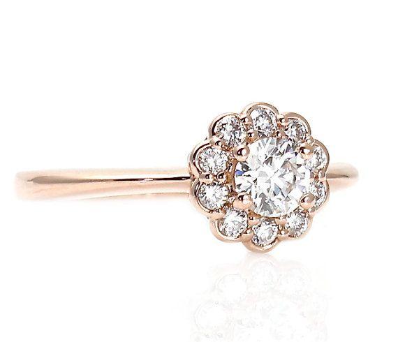 Rose Gold Diamond Engagement Ring Halo Cluster 14K Custom Engagement Ring Bridal Jewelry on Etsy, $1,692.32 CAD