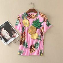 L'europe et les états-unis femmes clothing de la nouvelle d'été 2017 ananas imprimé paillettes t-shirt(China (Mainland))
