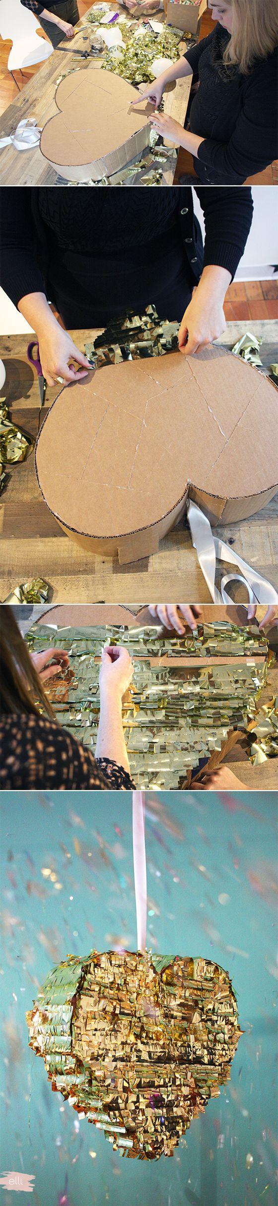 DIY Engagement Party Decor Gold Fringe Pinata